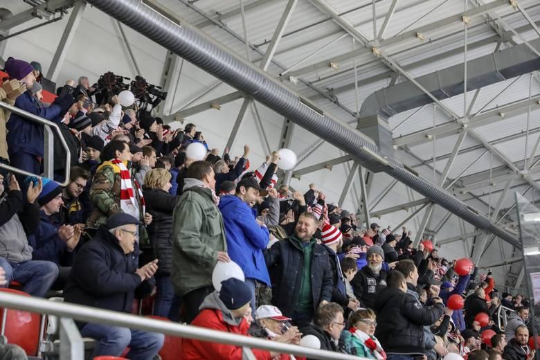 Kibice Cracovii na meczu z Katowicami