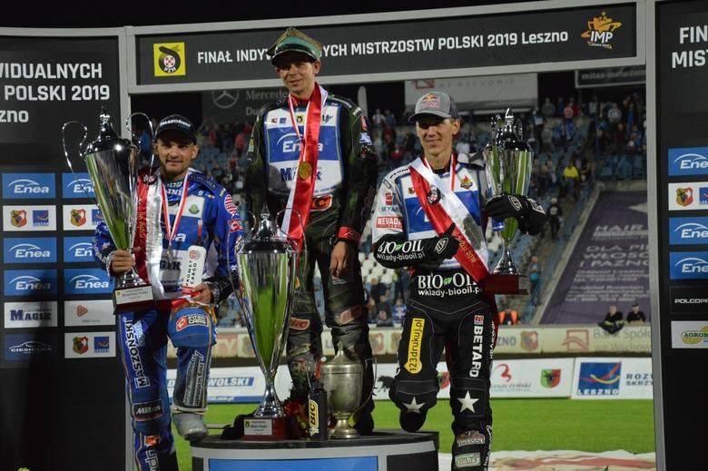 Finał indywidualnych mistrzostw Polski 2019: 1. Janusz Kołodziej, 2. Bartosz Zmarzlik, 3. Maciej Janowski.