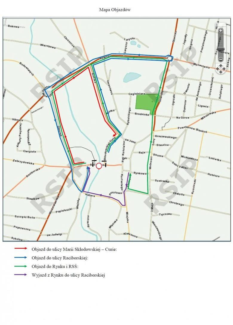 Mapa z objazdami do ulic: Raciborskiej i Marii Curie-Skłodowskiej