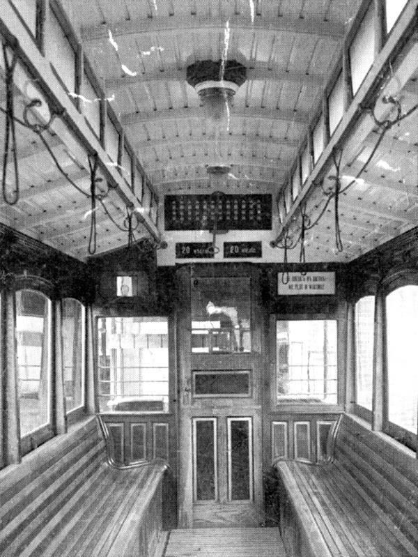 Wnętrze wagonu silnikowego herbrand VNB-125, rok 1900.