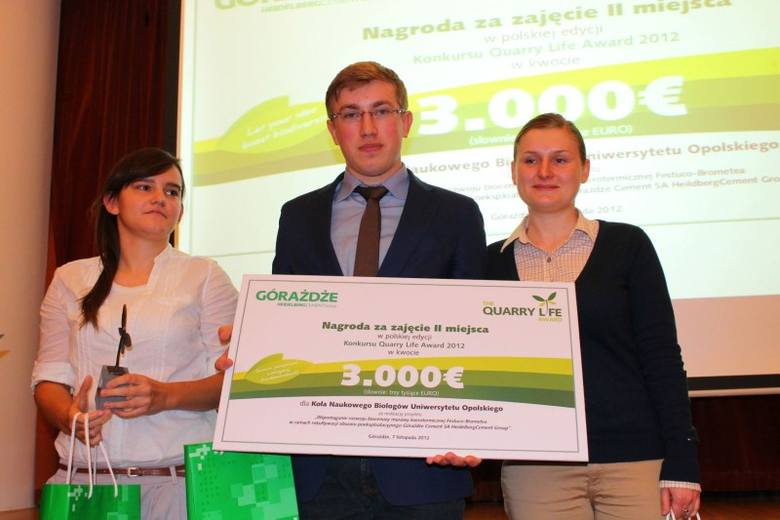 """Koło naukowe biologów Uniwersytetu Opolskiego zajęło IImiejsce w konkursie """"Quarry Life Award""""."""