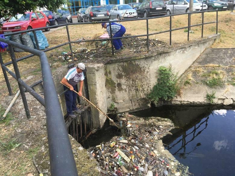 W czwartek rano rozpoczęto porządkowanie kanału na plantach al. 23 Stycznia w Grudziądzu. Śmieci jest bardzo dużo. - Ich wyciąganie potrwać może dwa