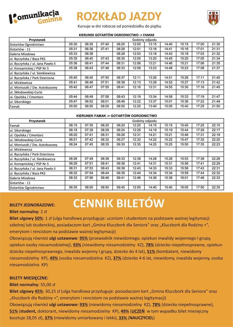 Autobus miejski w Kluczborku - rozkład jazdy i cennik biletów