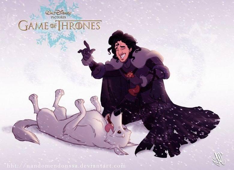 Gra o Tron w wydaniu... Disneya? Sprawdźcie jak wyglądałby bajkowy Jon Snow i Daenerys Targaryen!