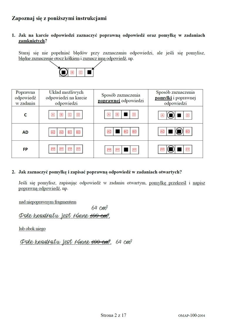 CKE, arkusz, odpowiedzi, egzamin