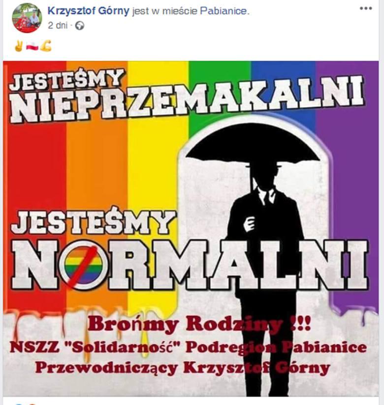 Infografika o LGBT Krzysztofa Górnego szefa Solidarności w Pabianicach jest homofobicznym manifestem? Tak uważa działacz Michał Pietrzak