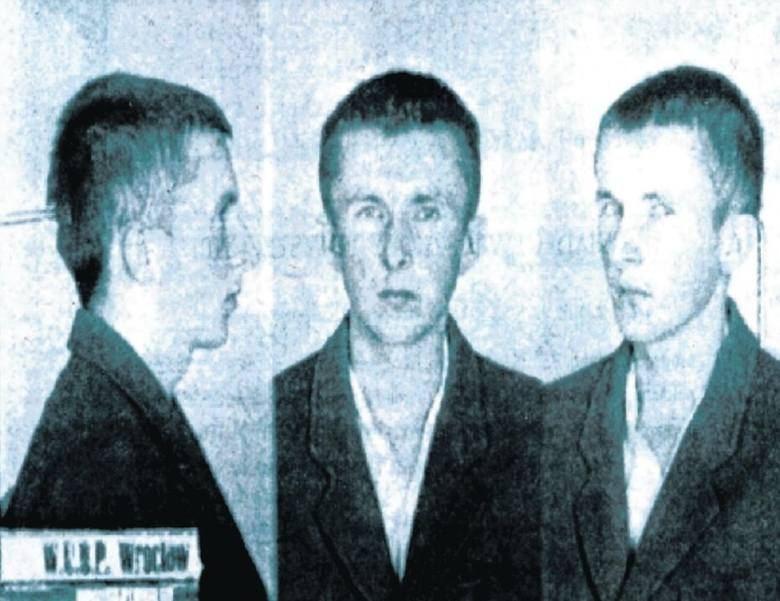 Zdjęcie Bronka Kozaka zrobione podczas jego pobytu we wrocławskim więzieniu UB.