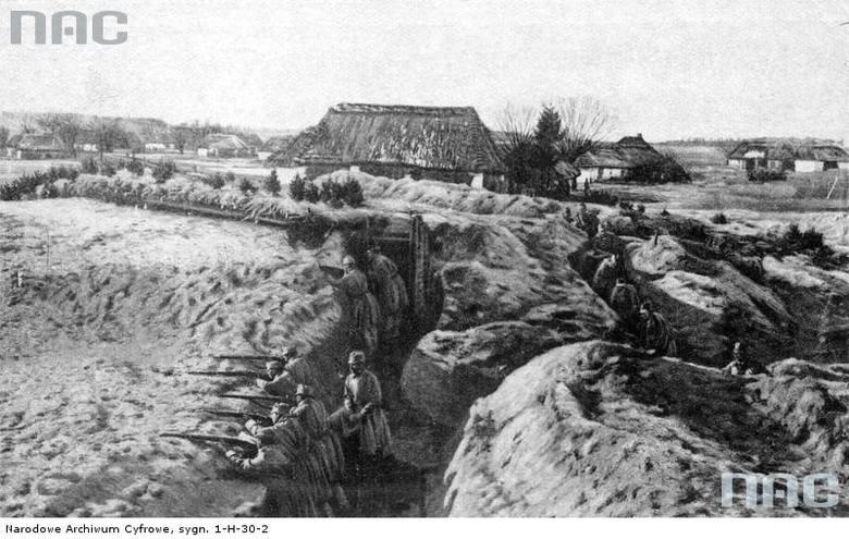 Wojska austro-węgierskie w okopach podczas walk z armią rosyjską o Przemyśl, 1915.