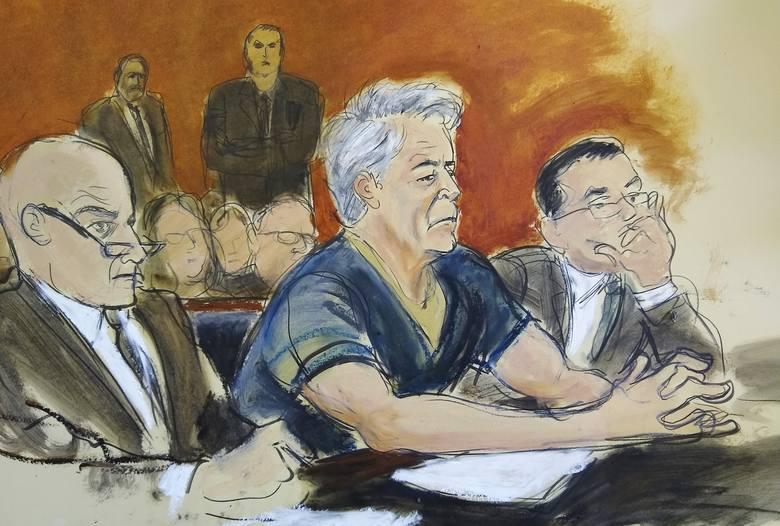 Jeffrey Epstein podczas procesu 8 lipca na Manhattanie wraz ze swoimi obrońcami. Grafika.