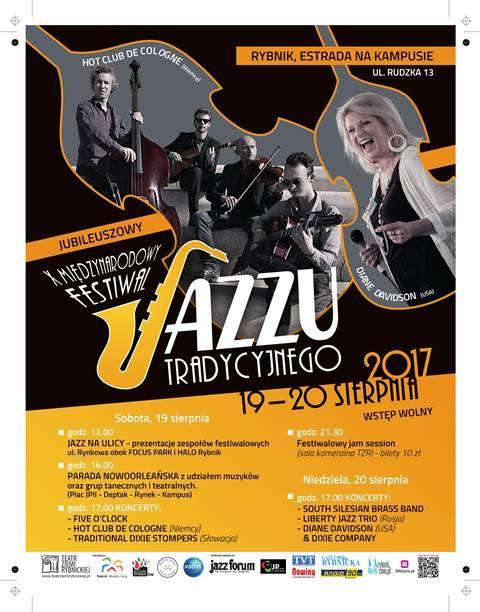 X Międzynarodowy Festiwal Jazzu Tradycyjnego w RybnikuX Międzynarodowy Festiwal Jazzu Tradycyjnego, Teatr Ziemi RybnickiejSobota, 19 sierpnia12.00 -