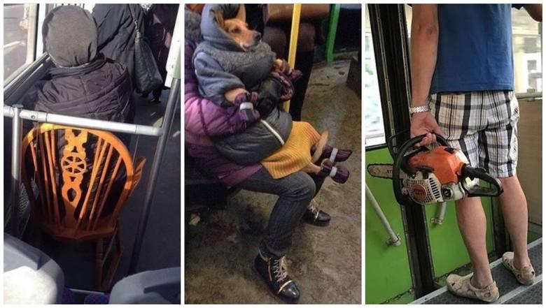 """Takie widoki tylko w komunikacji miejskiej: """"Zmęczone siatki"""", pies w kurtce i... mężczyzna z piłą ZDJĘCIA"""