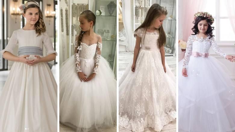 Komunia = mały ślub? Niektórych ponosi fantazja. Najmodniejsze SUKIENKI KOMUNIJNE 2019