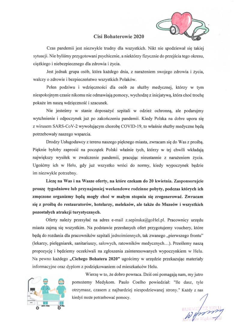 """Burmistrz Helu zapoczątkował akcję """"Cichy Bohater 2020"""", w ramach której pielęgniarki, lekarze, ratownicy czy sanitariusze będą mogli"""
