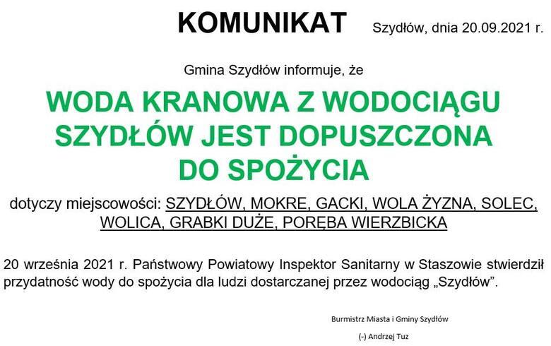 Woda w gminie Szydłów zdatna do picia. Sanepid wydał komunikat