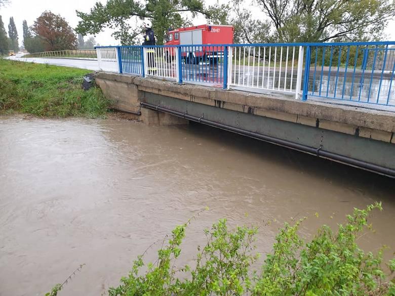 Bardzo wysoki poziom rzeki Czarna Woda w okolicach Sobótki