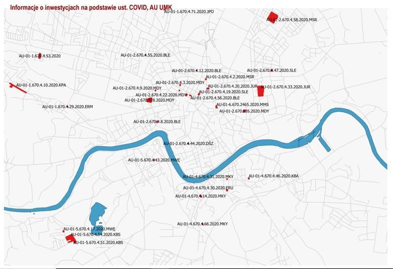 Mapa inwestycji w ramach lex covid