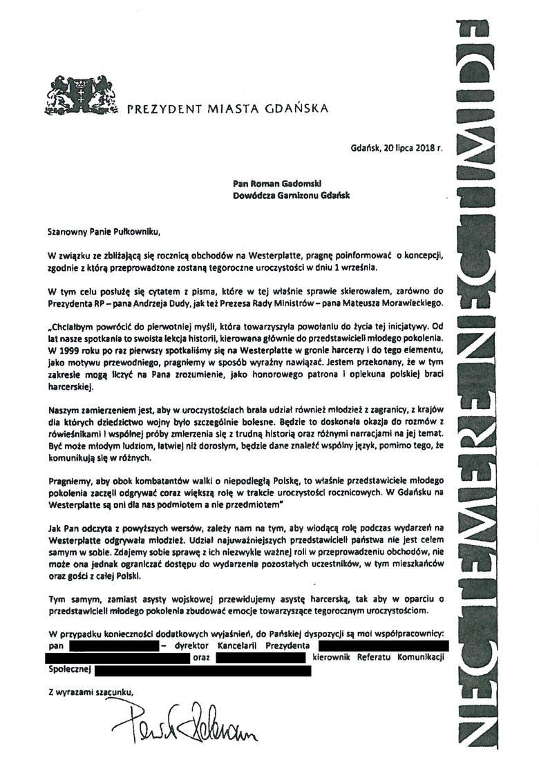 [b]Na stronie MON opublikowane jest pismo prezydenta Adamowicza, które skierował do Dowódcy Garnizonu Gdańsk.