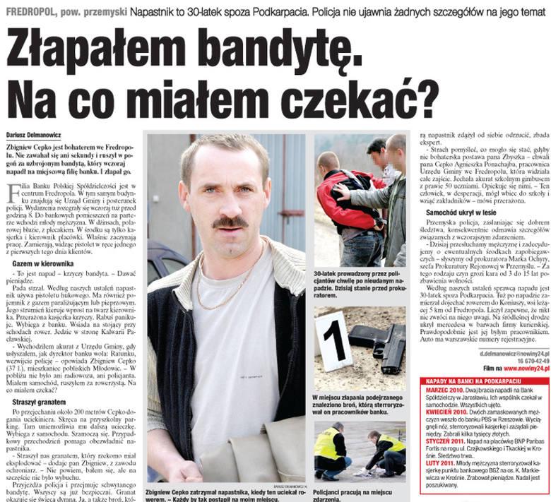 Na filię banku we Fredropolu koło Przemyśla napa młody mężczyzna. Ma broń. Pracownicy podnoszą alarm, a napastnik używa gazu, którego strumień kieruje