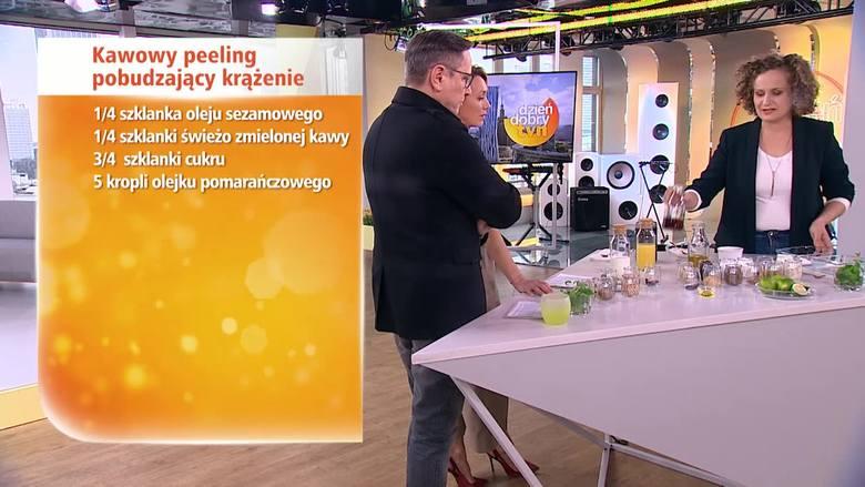 DOMOWY PEELINGJak zrobić domowy peeling pobudzający krążenie?1/4 szklanki oleju sezamowego1/4 szklanki świeżo zmielonej kawy3/4 szklanki cukru5 kropli