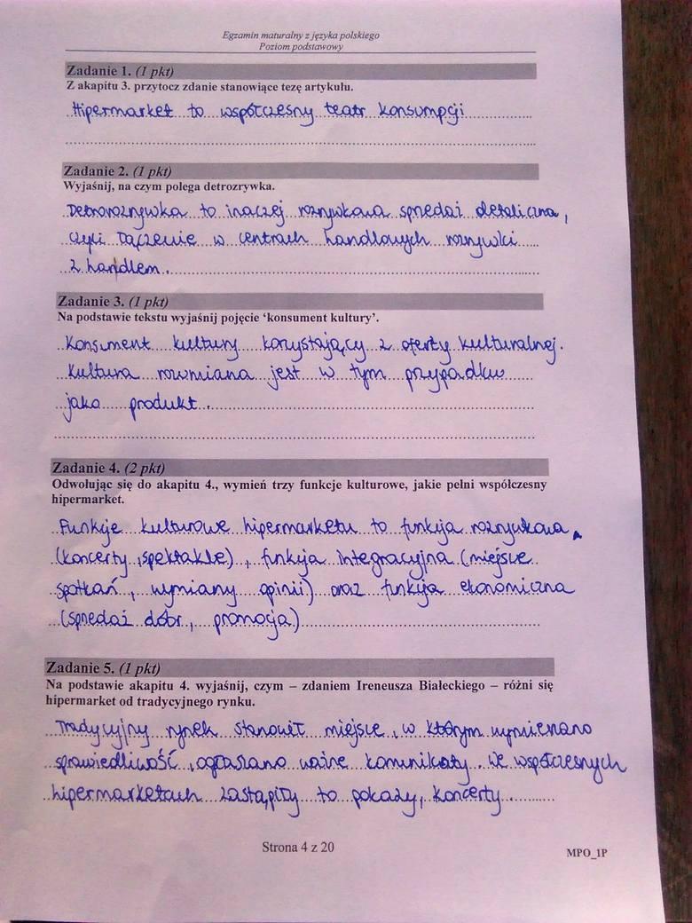 matura język polski poziom podstawowy 2011