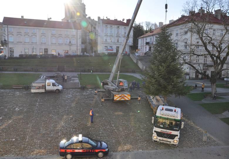 Świąteczna choinka została ustawiona na Rynku w Przemyślu. Za tydzień, w niedzielę (8 grudnia) podczas Wielkiej Parady Mikołajowej, ma rozbłysnąć kolorowymi