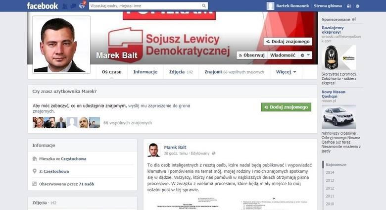 Poseł Marek Balt straszy internautów procesami za udostępnianie na Facebooku