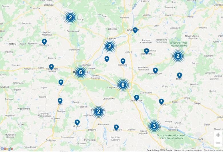 Kujawsko-Pomorskie. Mapa NFZ punktów pobrań wymazów w kierunku koronawirusa