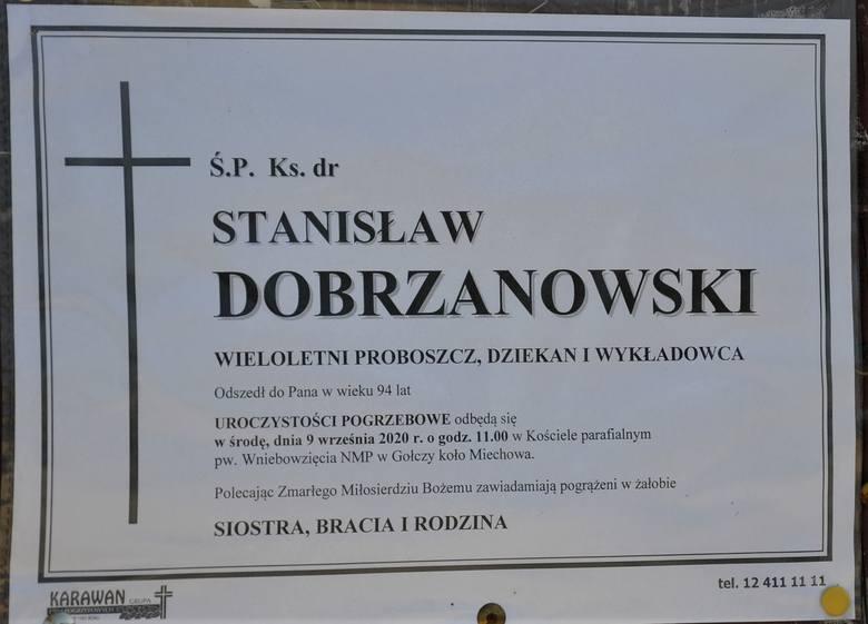 Gołcza. Na cmentarzu w rodzinnej parafii odbył się pogrzeb ks. dr Stanisława Dobrzanowskiego