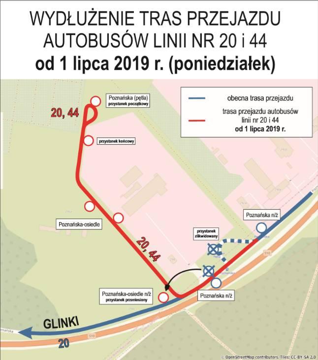 Od poniedziałku 1 lipca autobusy linii nr 20 i 44 kursujące do pętli przy ul. Poznańskiej pojadą dalej do nowego osiedla przy ul. Poznańskiej 294. Nowa