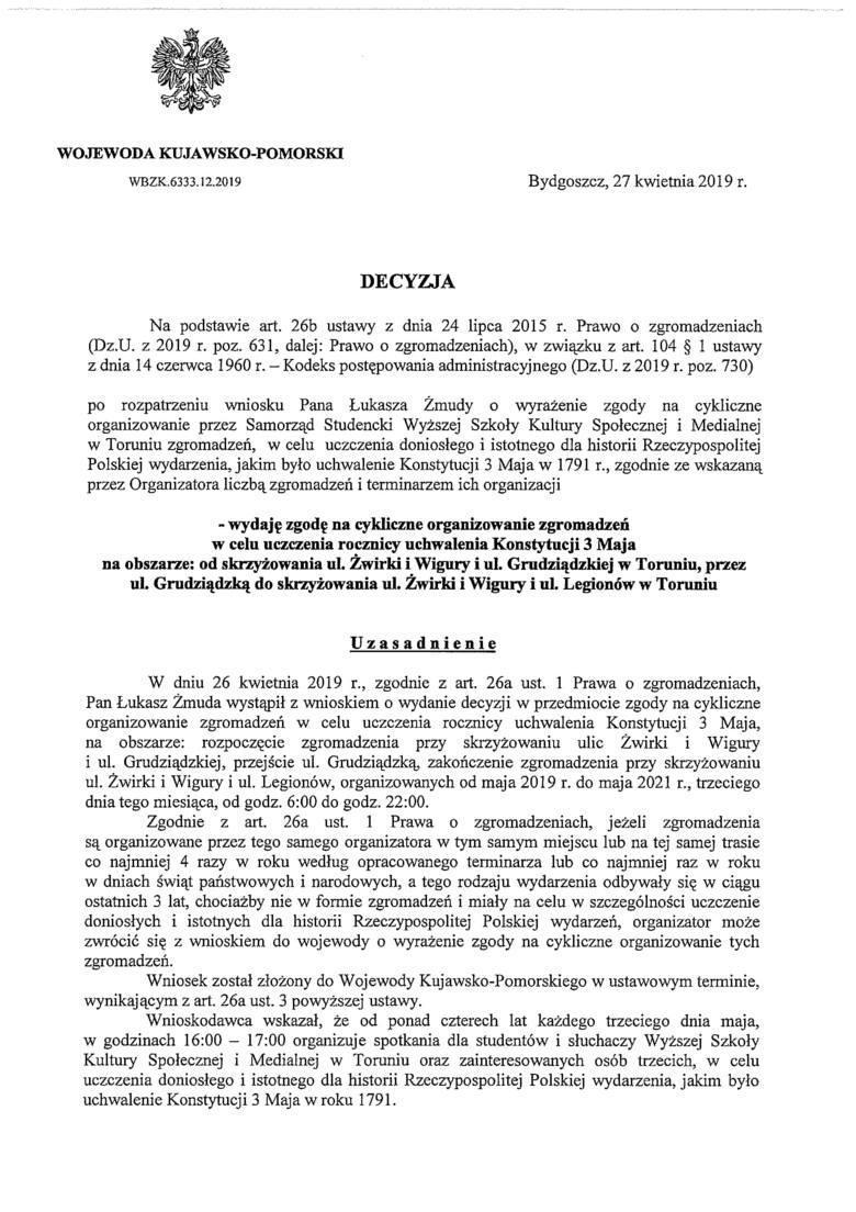 Wojewoda dał studentom uczelni o.Rydzyka prawo organizowania imprez cyklicznych ale sam czy nie naruszył przy tym prawa? - komentarz