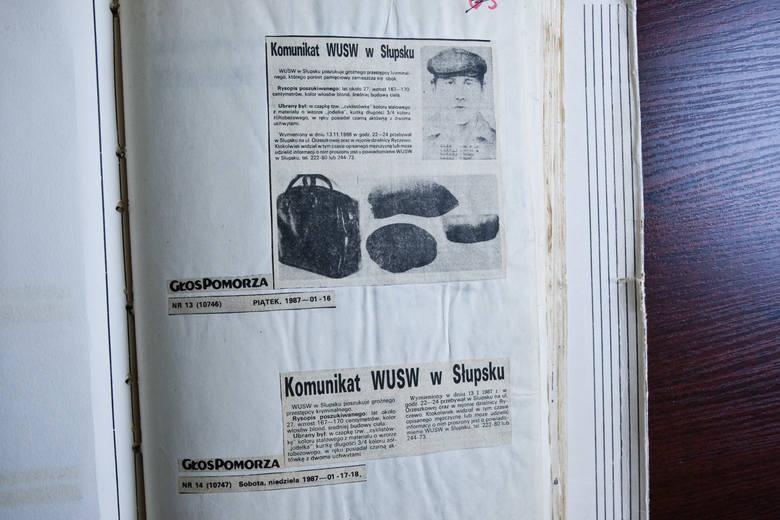"""Notatki prasowe jakie ukazały się w """"Głosie Pomorza"""" po zbrodni."""