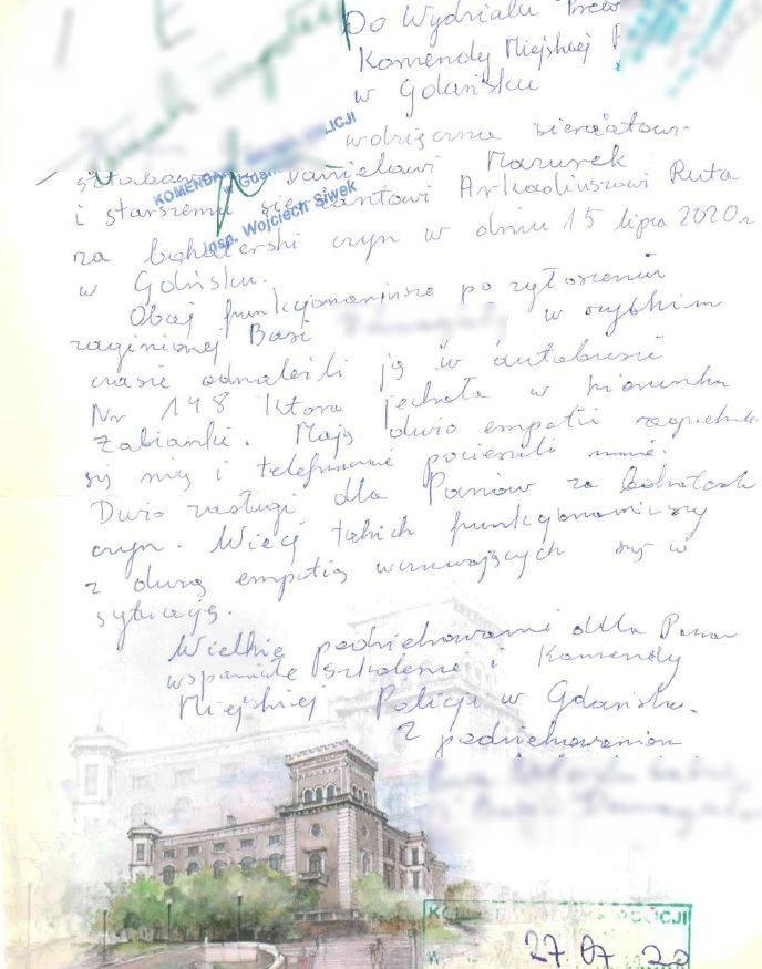 List z podziękowaniami dla policjantów z Gdańska za odnalezienie 8-letniej wnuczki.