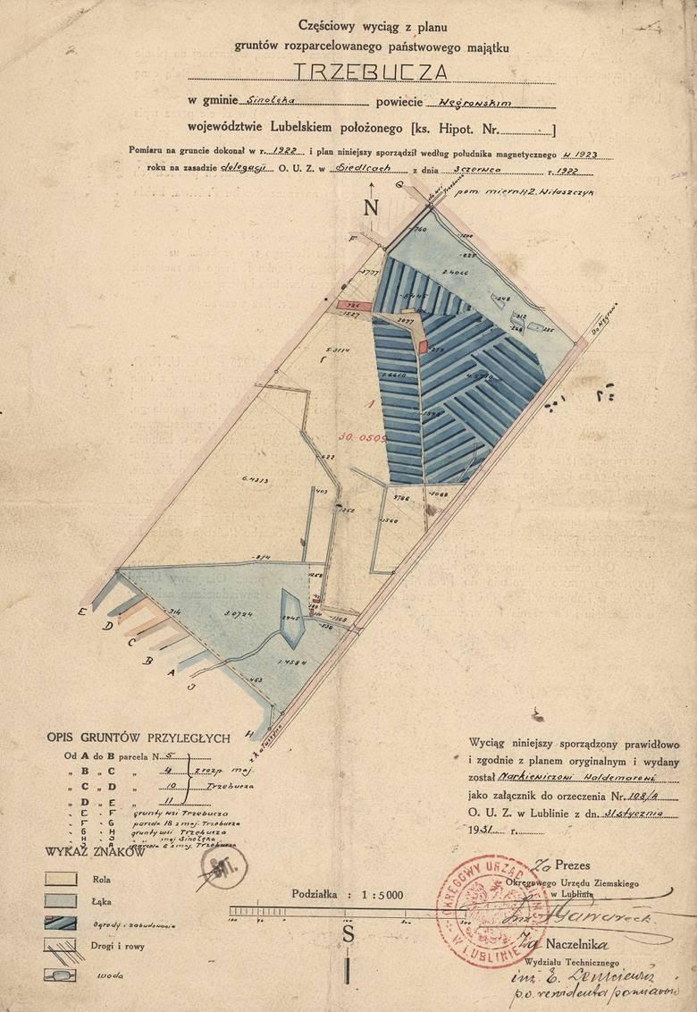Plan gruntów majątku Trzebucza pod Węgrowem, gdzie osiedlił się major pilot Władysław Waldemar Narkiewicz