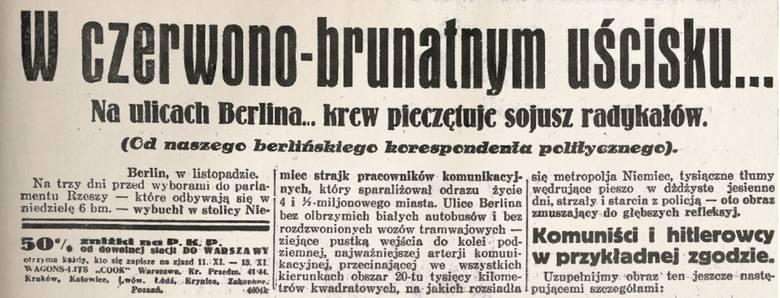 Z kart historii: frustracja Hitlera, czyli ostatnie wolne wybory w Republice Weimarskiej