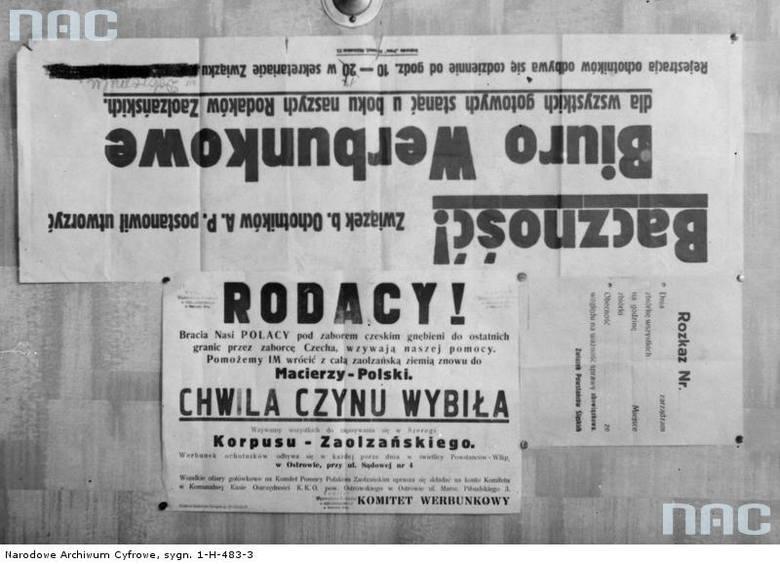 Plakaty werbunkowe Zaolziańskiego Korpus Ochotniczego.<br />