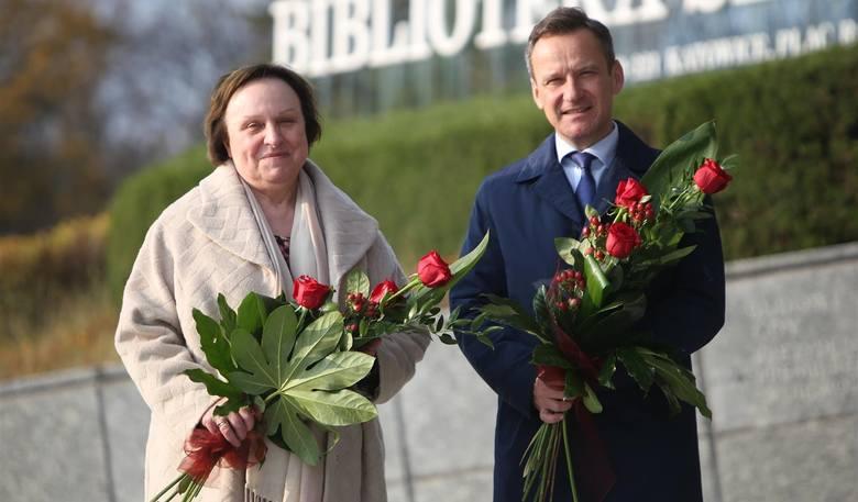 Opolscy laureaci Nagrody im. Karola Miarki: dr hab. Urszula Łangowska-Szczęśniak i Jacek Wawrzynek. Na uroczystości zabrakło (z powodu choroby) Tadeusza Chrobaka.