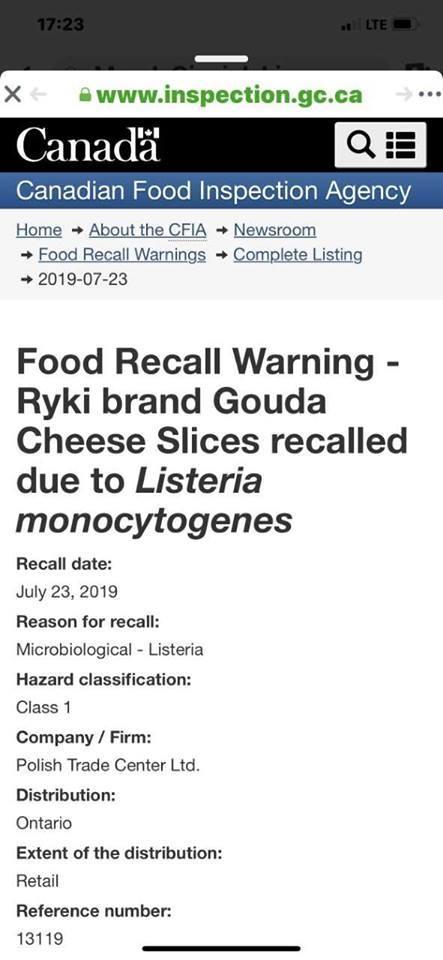 Kanadyjskie służby informowały o skażeniu bakteriami polskiego sera już 23 lipca!