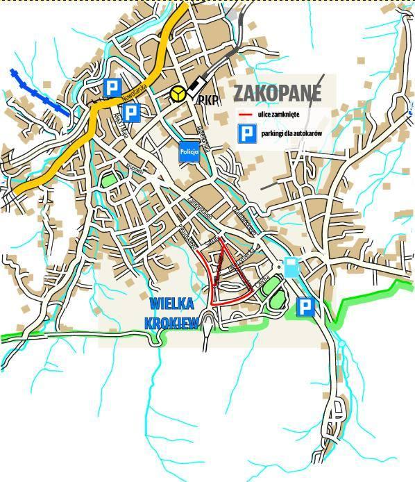 Na mapie znajdziemy zamknięte dla ruchu samochodowego ulice (czerwony kolor), a także miejsca parkingowe, zwłaszcza dla autokarów. Lepiej jednak w ten