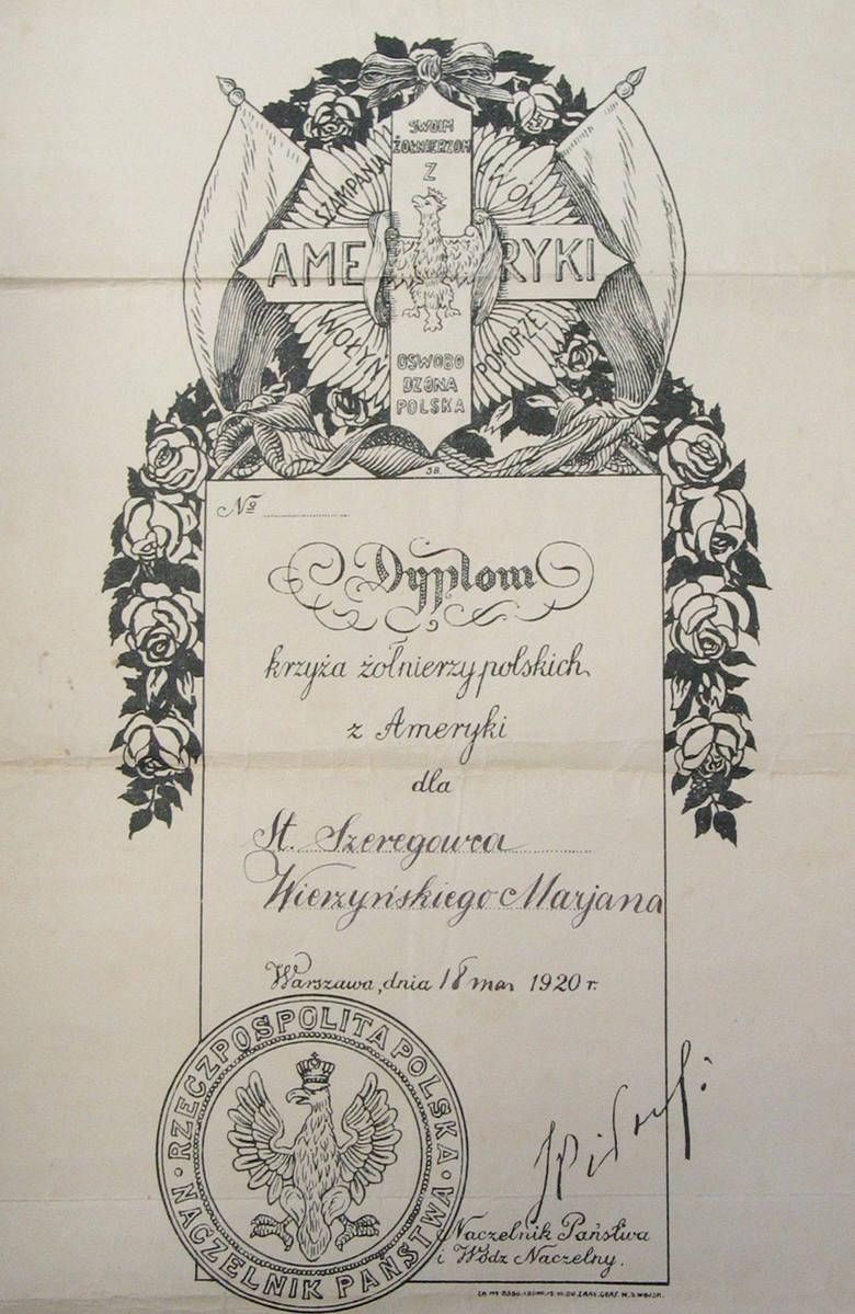 Podpisany przez Piłsudskiego, nadany mojemu ojcu Dyplom Krzyża Żołnierzy Polskich z Ameryki