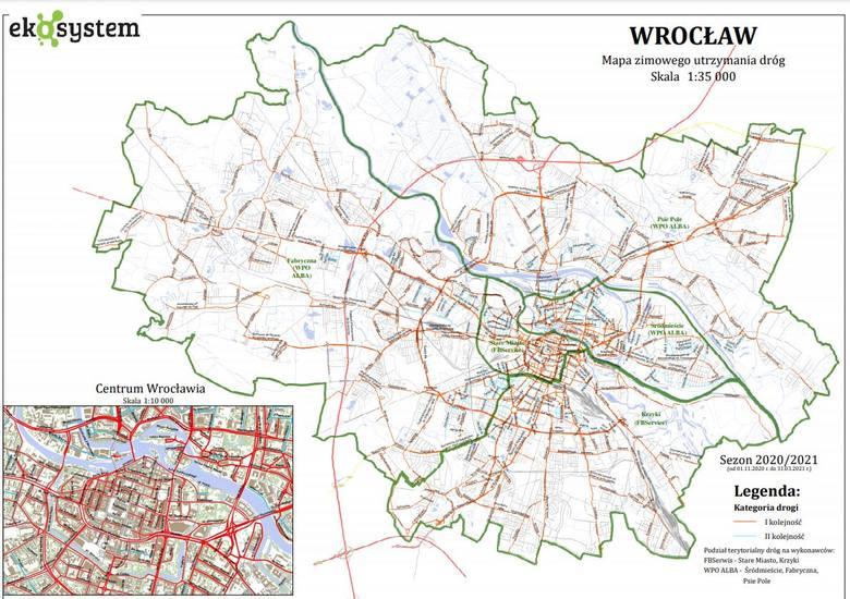 Oto kolejność odśnieżania we Wrocławiu. Te ulice mają być odśnieżone jako pierwsze [MAPA]