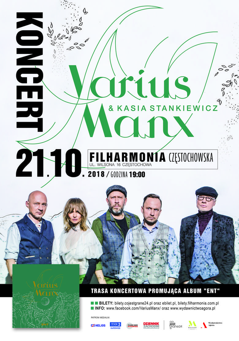 Varius Manx wystąpi 21 października 2018 w Filharmonii w Częstochowie
