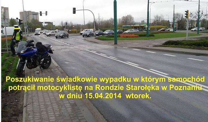 We wtorek rano na Starołęce został potrącony motocyklista. Kierowca samochodu odjechał z miejsca zdarzenia. Motocyklista na Facebooku poszukuje spra