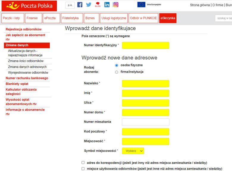 Formularz na stronie Poczty Polskiej