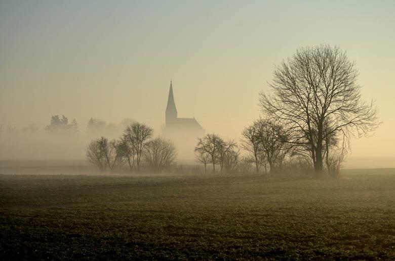 """Oto  wybrane przez jury """"Zdjęcie marca 2021"""".Zwycięskie zdjęcie przedstawia poranną mgłę w miejscowości Wudzyn"""