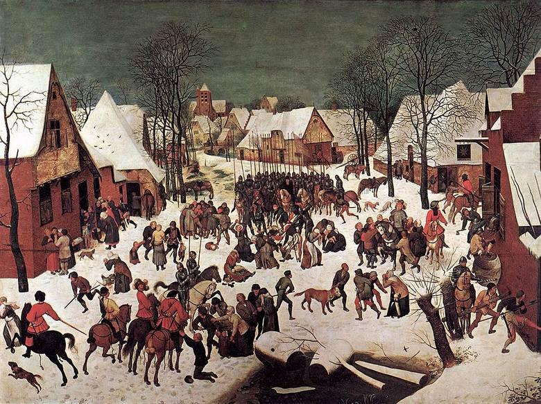 """""""Rzeź niewiniątek"""" autorstwa Pietera Bruegla starszego. Obraz miał wydźwięk polityczny. Krytykował politykę przemocy i krwawych represji, jaką zaprowadził książę Alba w zbuntowanych Niderlandach (1567-73)<br />"""