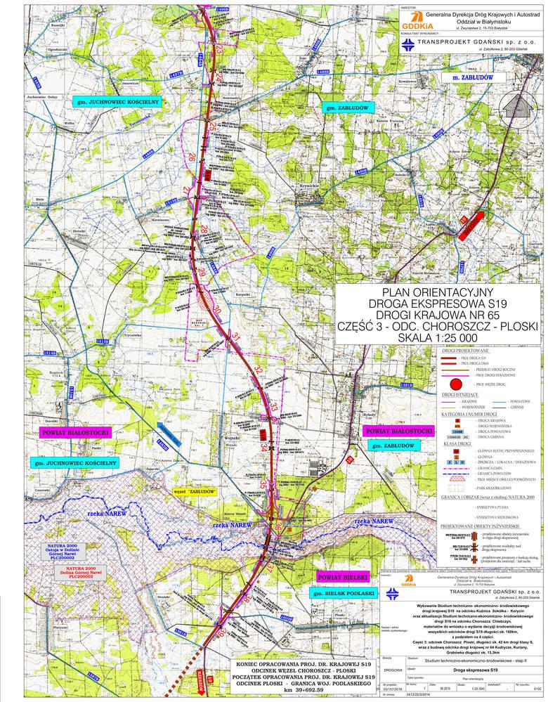 To orientacyjny plan południowej obwodnicy Białegostoku , która obejmie drogą ekspresową S 19 i drogę krajową nr 65