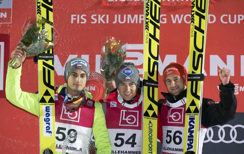 Kamil Stoch, Maciej Kot i Markus Eisenbichler na podium w Lillehammer.