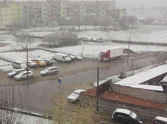 Śnieg spadł dziś w Suwałkach