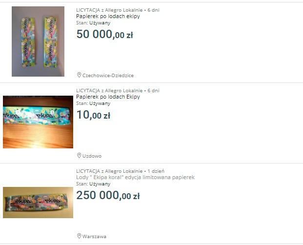 - Potrafię sobie wyobrazić, że ktoś chciałby sprzedać takie opakowanie za 10-15 złotych, bo na te lody naprawdę jest szaleństwo. Natomiast aukcje z tymi