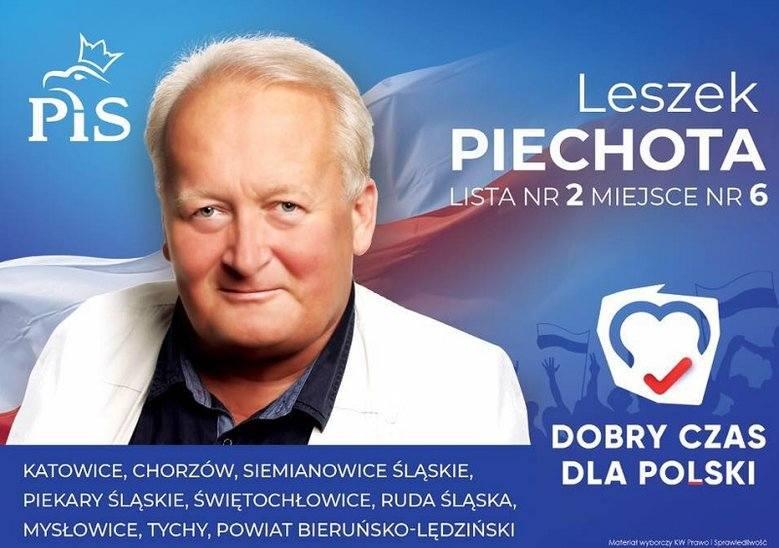 Zaskakujący baner wyborczy kandydata PiS. Leszek Piechota znał numer listy wyborczej przed losowaniem w PKW